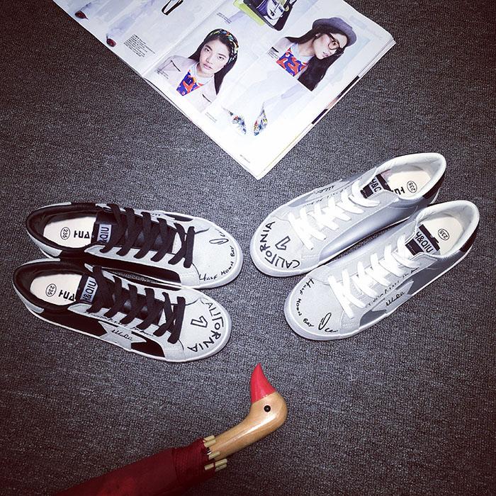 新款ulzzang银色复古皮面帆布鞋 韩国做旧小脏鞋休闲板鞋女学生鞋