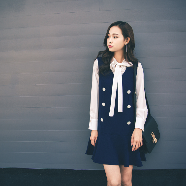 2017春季新款韩版女春款学院风衬衫雪纺连衣裙套装裙子两件套秋夏