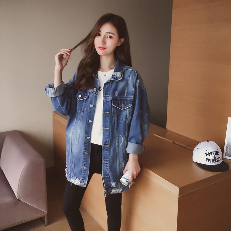 2017春装新款韩版宽松磨破中长款牛仔外套女装百搭时尚POLO领上衣