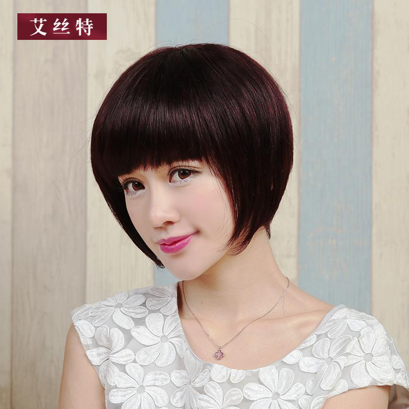 假发女短发bobo头时尚真发女士短发逼真自然真人发丝齐刘海波波头图片