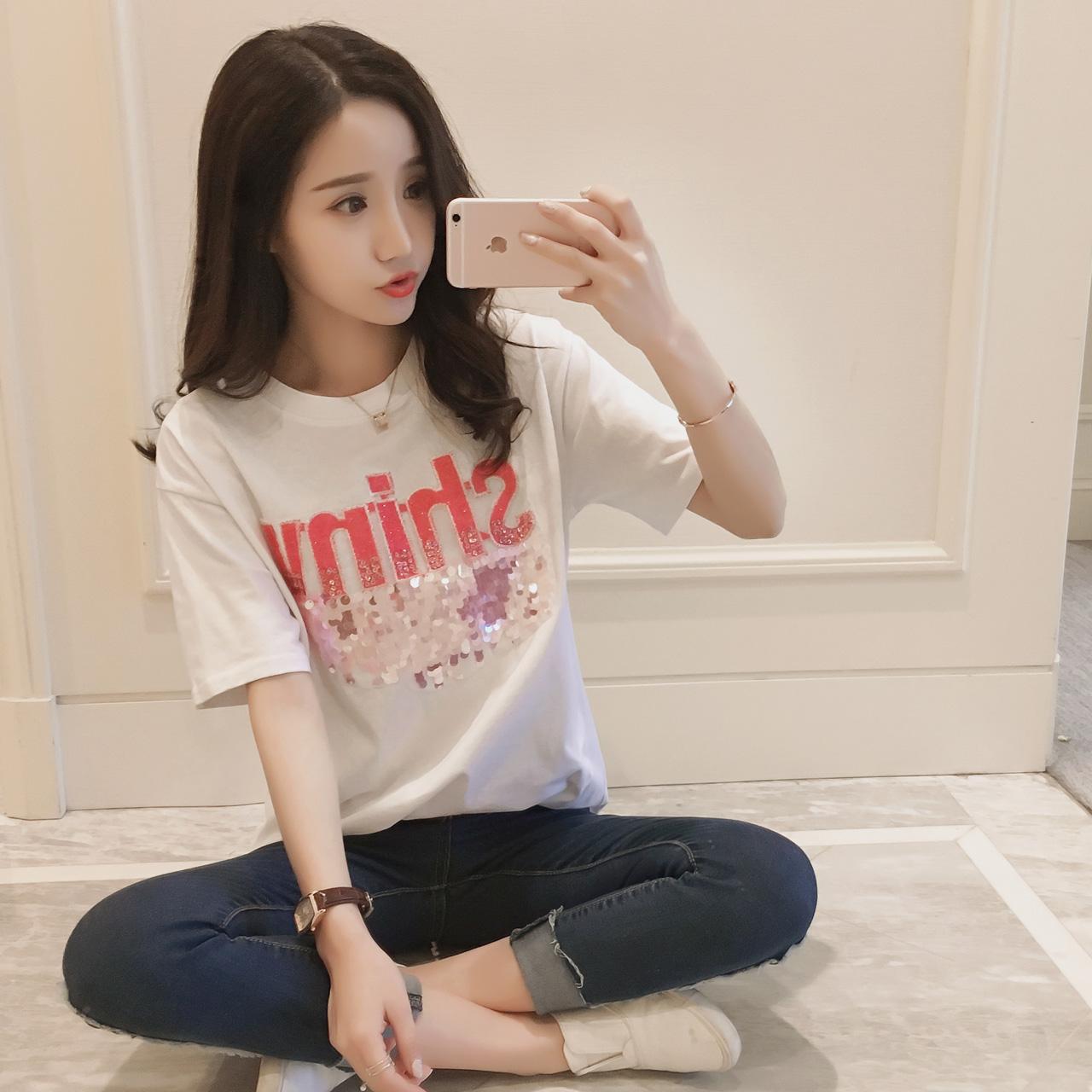 1琇婷-b824新款2017春装韩版女装显瘦字母亮片百搭短袖T恤衫C-06
