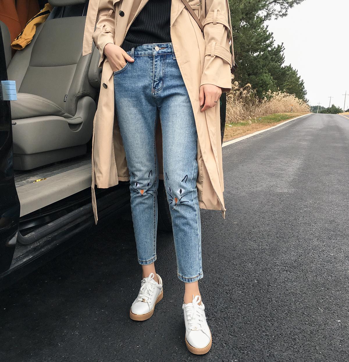 图案个性牛仔裤九分裤直筒裤修身裤子女-气质MM 有长外套 chic裤就够
