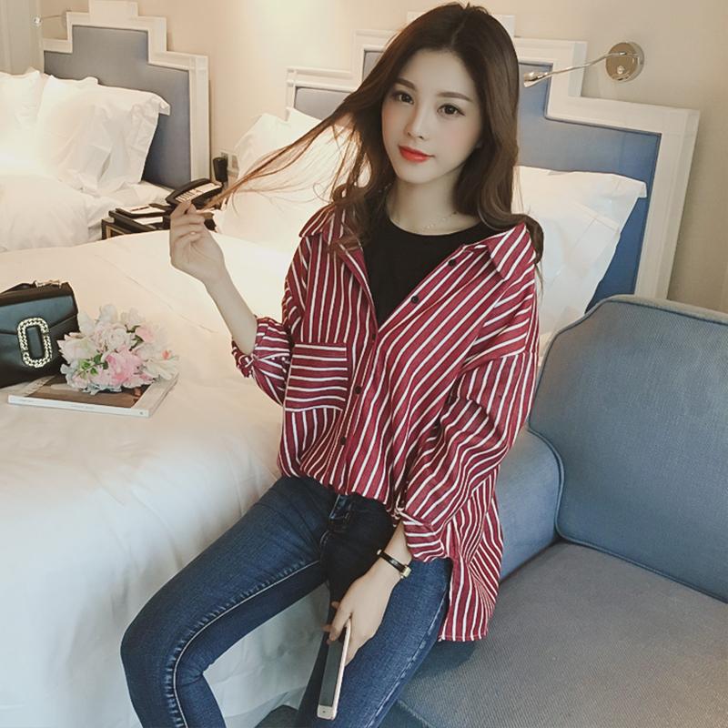 冬季韩版新款圆领竖条纹衬衫女长袖中长款衬衣宽松假两件上衣外套