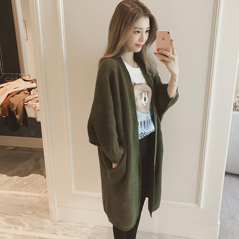 6度2017春装韩版新款蝙蝠长袖宽松中长款针织开衫女毛衣外套潮