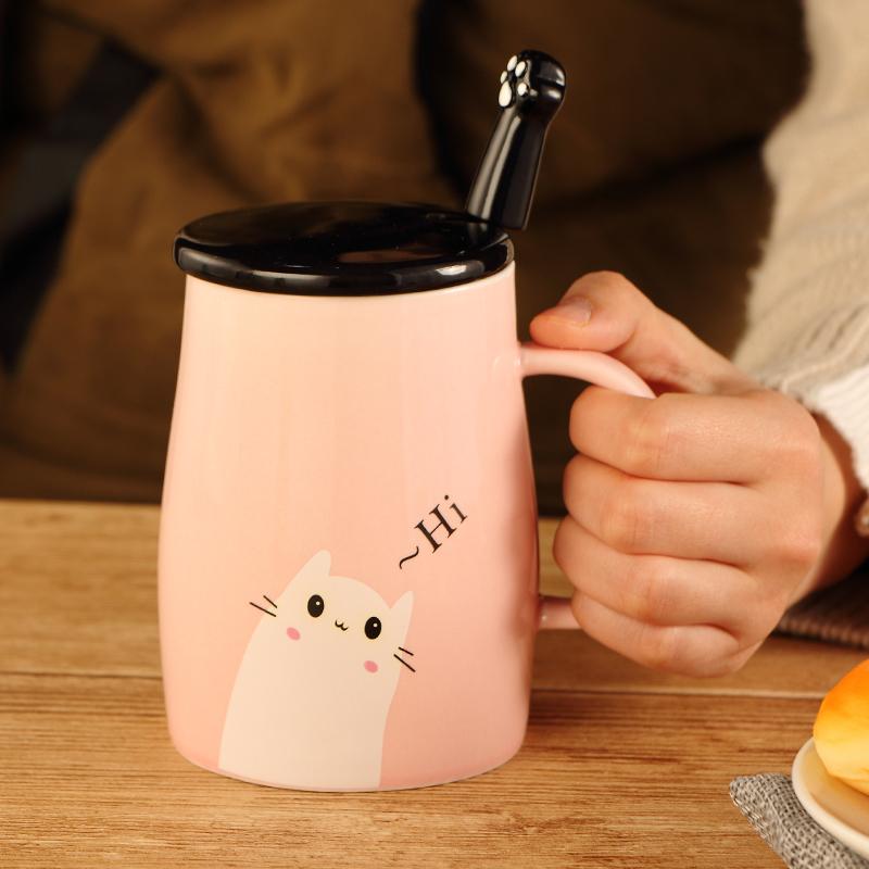 个性卡通陶瓷水杯子公主可爱马克杯带盖带勺情侣咖啡杯子创意韩版图片