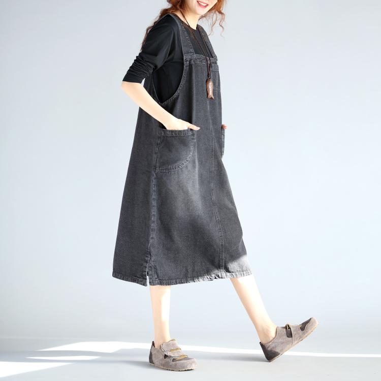 文艺范大码女装胖MM200斤连衣裙中长款牛仔背带裙宽松大码连衣裙