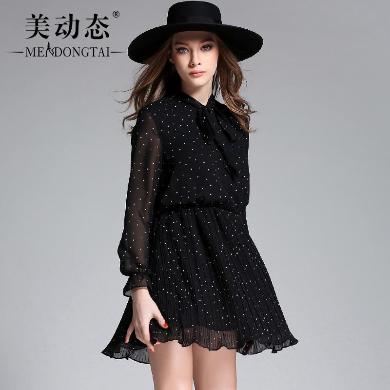美动态胖妹妹春装雪纺裙2017新款大码女装200斤显瘦波点连衣裙
