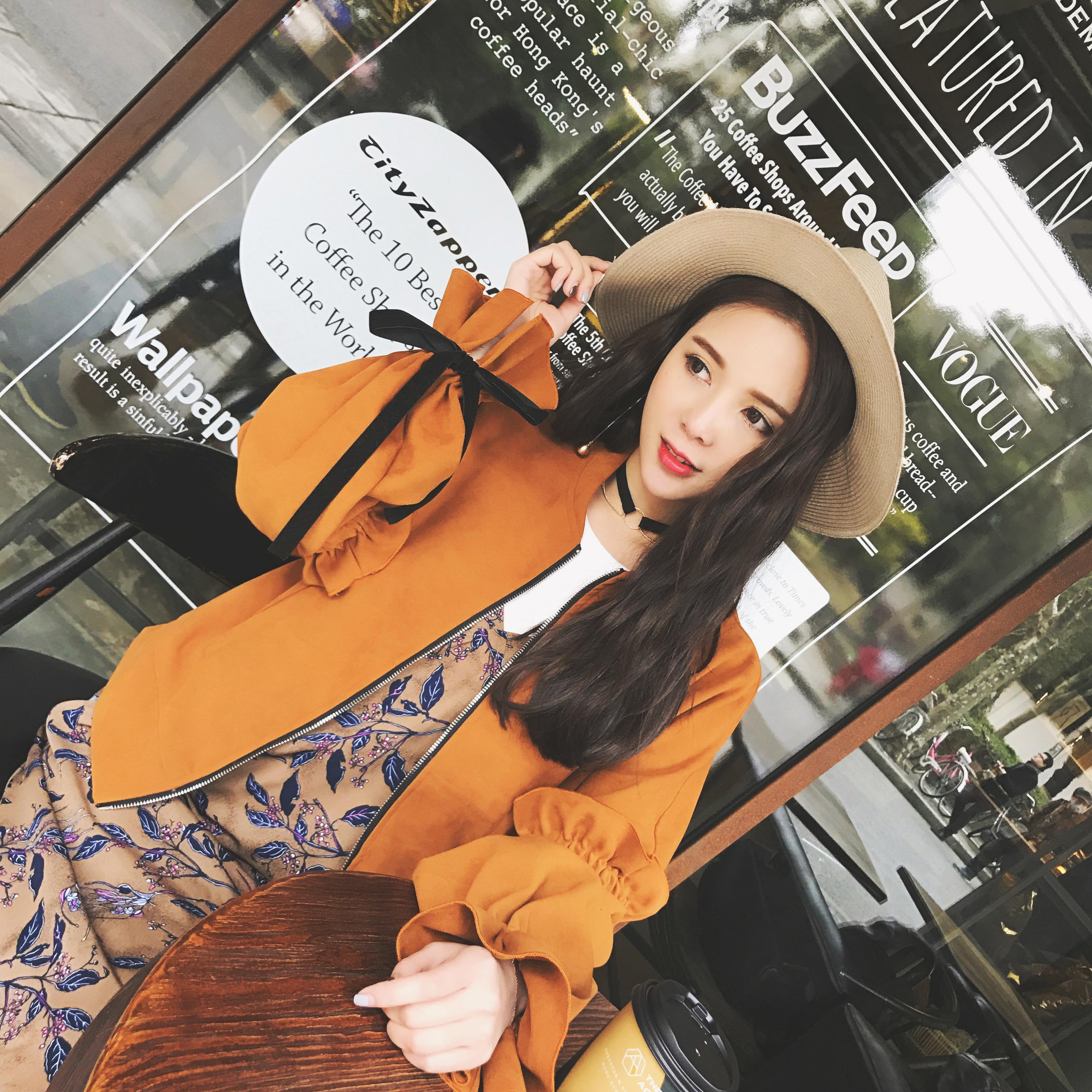 2017春装韩版百搭宽松短外套女袖口绑带荷叶边拉链夹克上衣