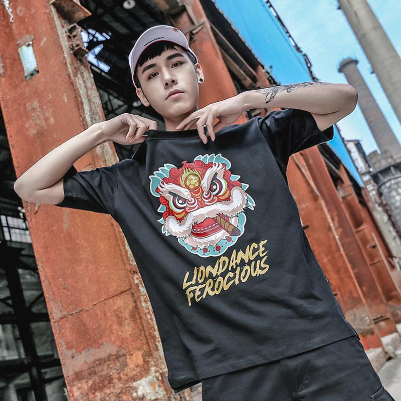 STR中国风醒狮西海岸T恤夏装潮牌半袖宽松原宿风bf情侣嘻哈短袖男