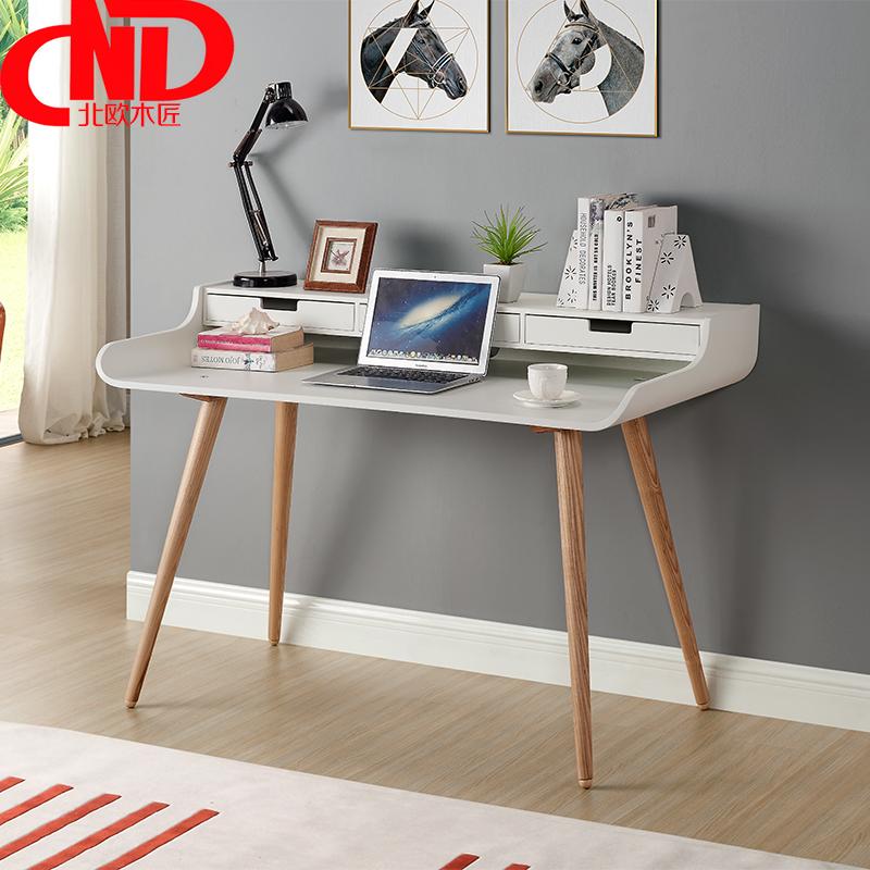北欧木匠  台式 家用 简约现代 实木水曲柳宜家休闲电脑桌书桌子图片