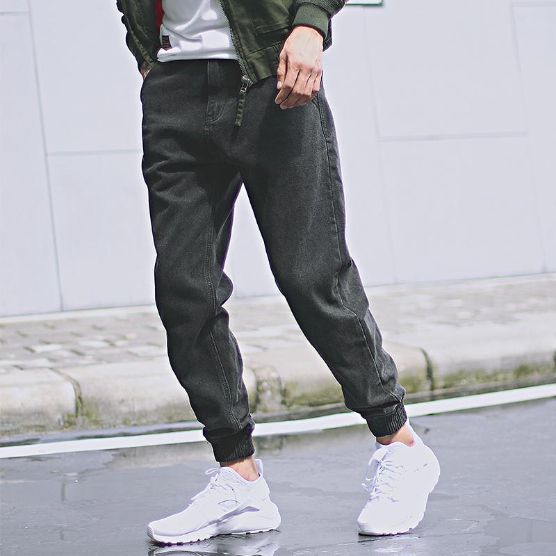 雅痞制噪 秋款日系复古水洗做旧牛仔裤男宽松街头束脚哈伦裤潮牌