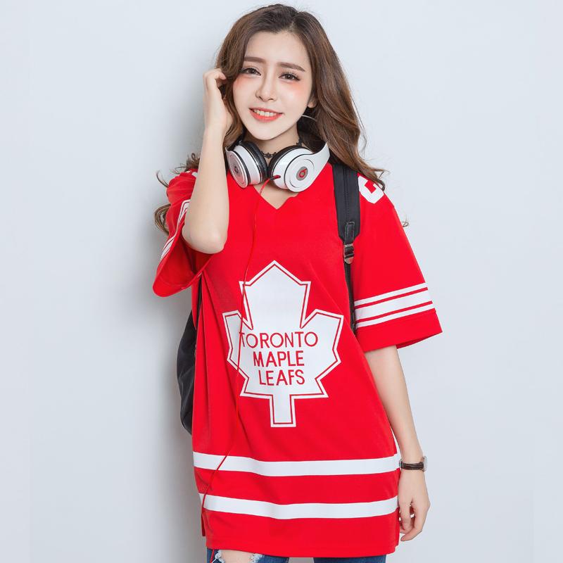 韩版hiphop嘻哈原宿街头风BF棒球服宽松大码个性短袖T恤连衣裙女