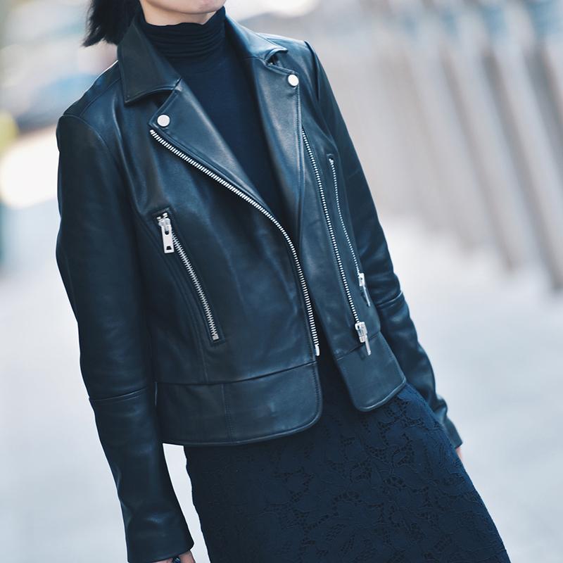 一半感性一半女式无理性蜡感绵羊皮大全车模秋季新款2016性感b西装涂层挤图库夹克最图片