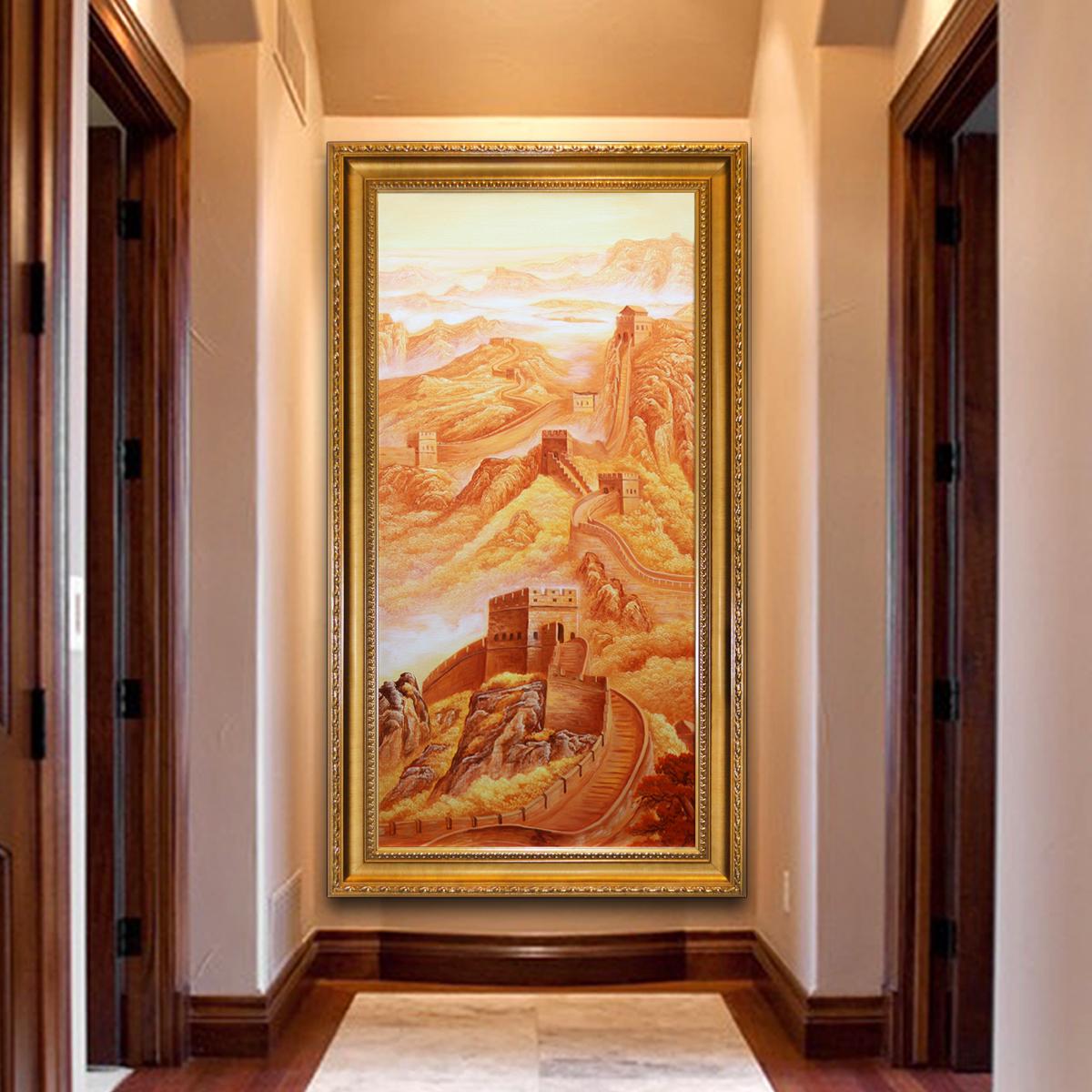 油画 玄关装饰画过道办公室万里长城风水画 酒店现代中式竖版挂画