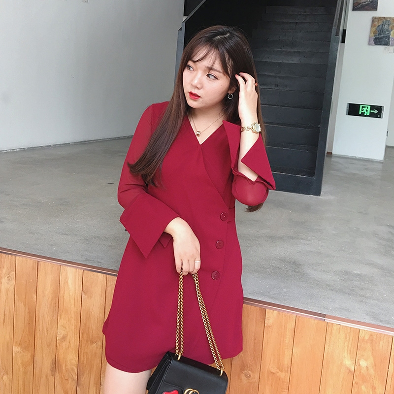 摩妮卡加大码女装2017春装新品胖MM显瘦斜襟网纱袖酒红连衣裙
