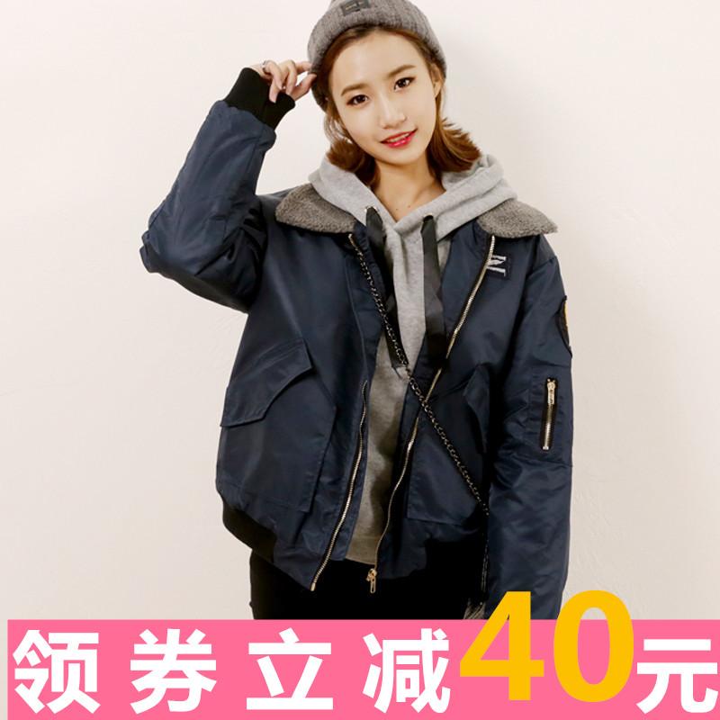 2016秋冬韩版新款羊羔毛领加厚飞行员夹克棒球短款棉衣外套女棉服