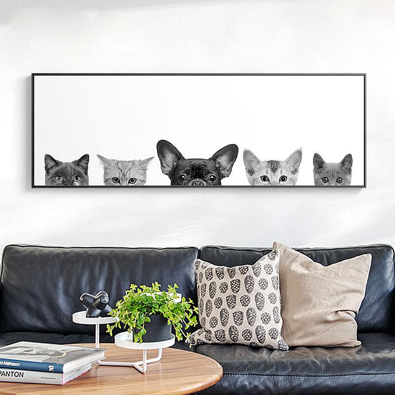 北欧风格动物客厅装饰画 现代简约卡通挂画卧室壁画墙画床头画猫图片