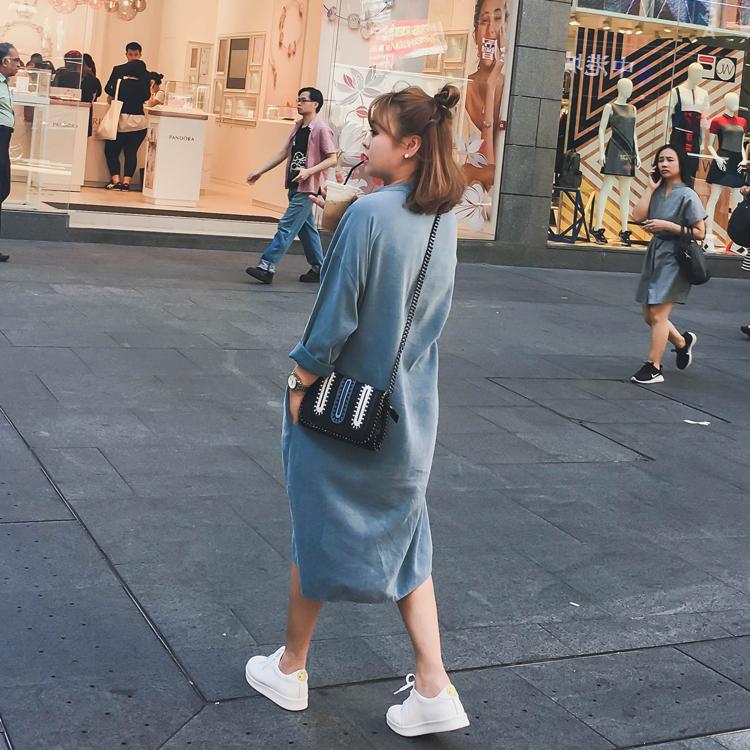 定制2017春装新款韩版长袖宽松牛仔衬衫连衣裙中长款衬衣上衣女装