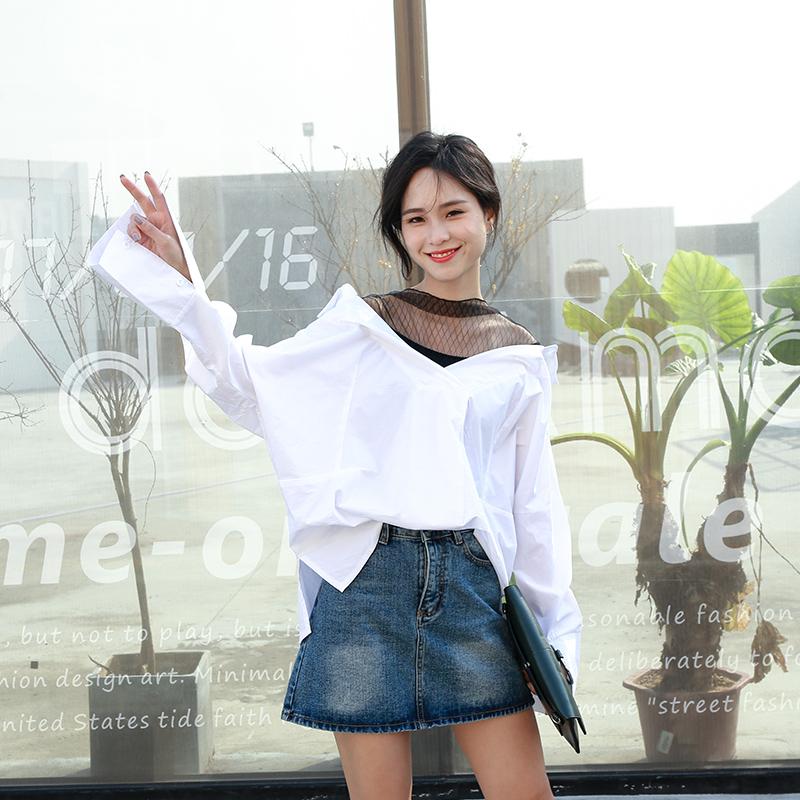网纱拼接假两件长袖衬衫女2017韩版春装新款宽松大码女装衬衣上衣