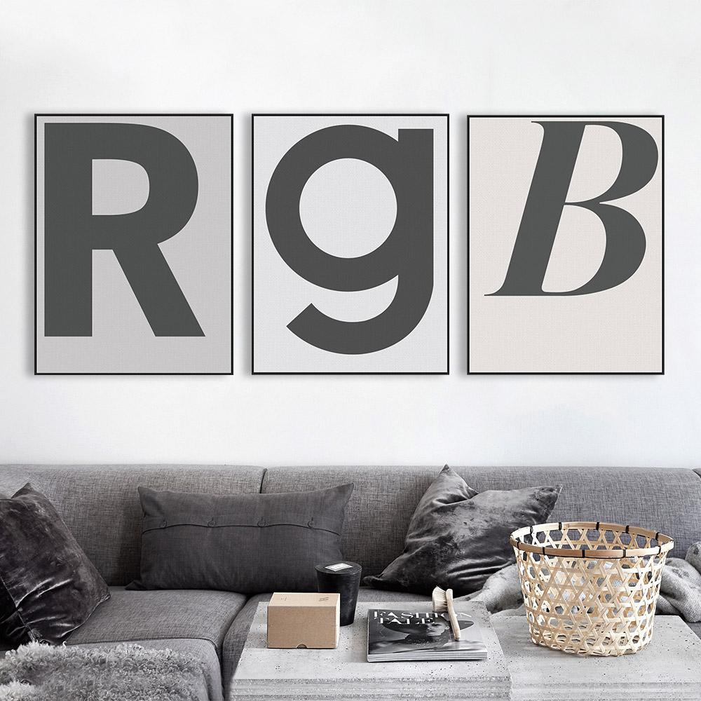 轻艺术 现代简约黑白灰北欧英文字母画酒吧宾馆定制海报装饰画芯