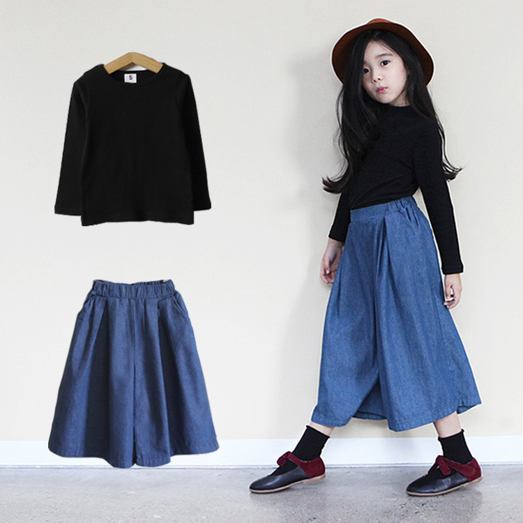 童装2017新款韩版女童春装套装儿童阔腿牛仔裤中大童两件套韩国潮