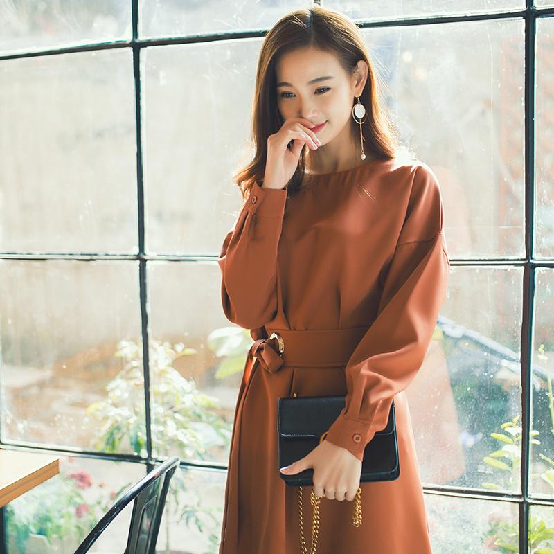 2017春装新款欧洲站女装复古连衣裙 春秋款韩版时尚长袖收腰裙子