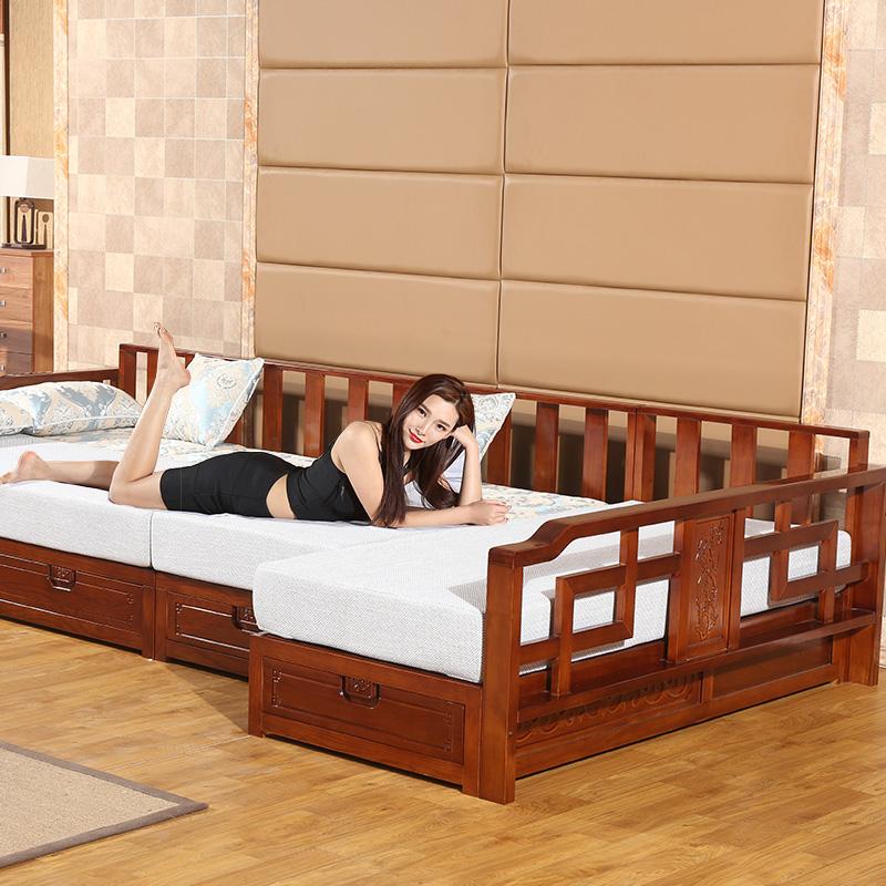 水曲柳实木沙发床推拉中式转角客厅现代冬夏两用木质