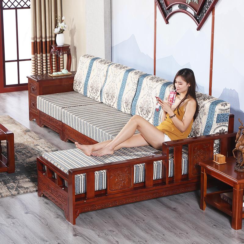中式明清古典全实木沙发水曲柳雕花木质沙发贵妃转角