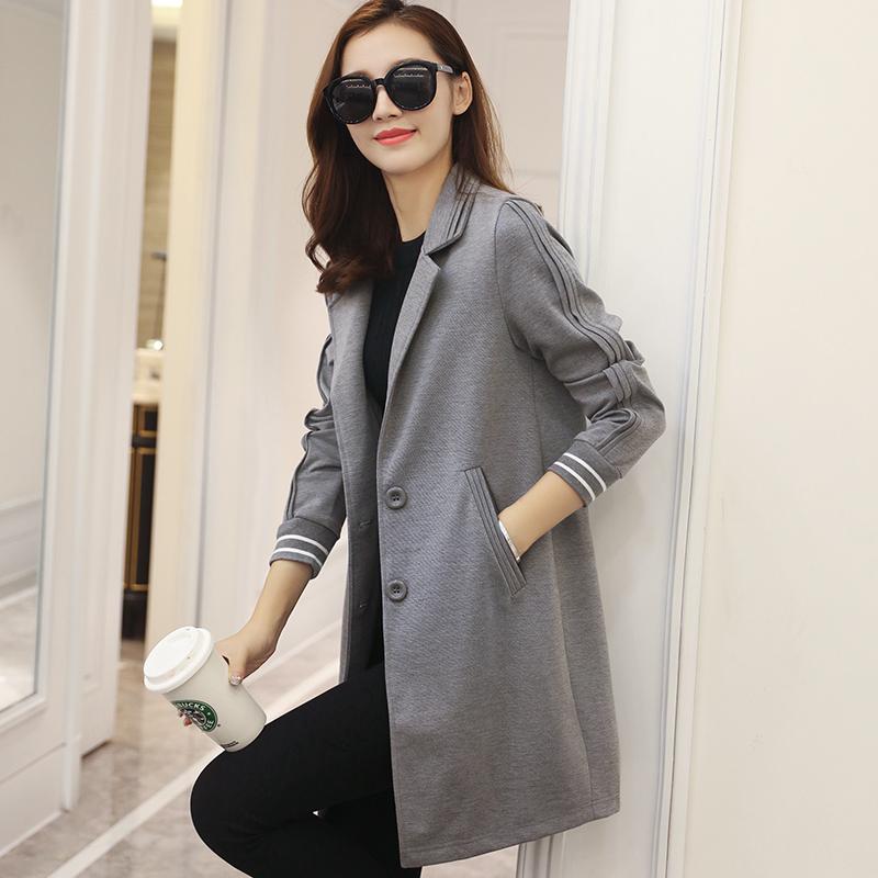 2017春装新款韩版修身百搭中长款小西装女外套休闲风衣春季西服