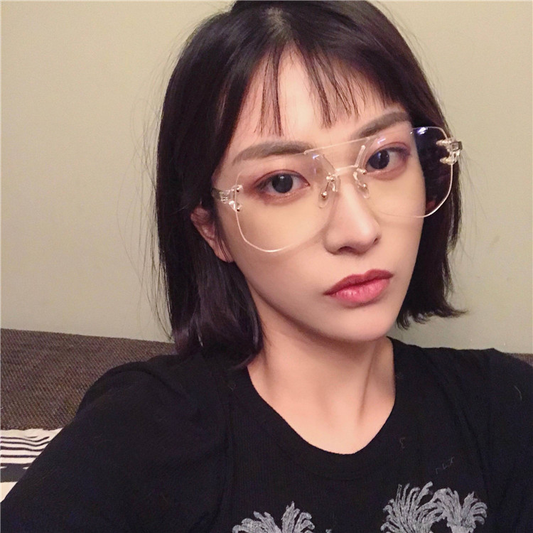 欧美ins封帆王柳雯同款眼镜架 不规则多边形无框蚂蚁平光眼镜男女