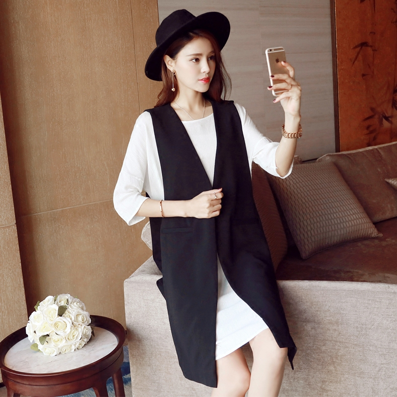 春装新款女装2017 韩版长款西装外套马甲套装裙开叉连衣裙 潮