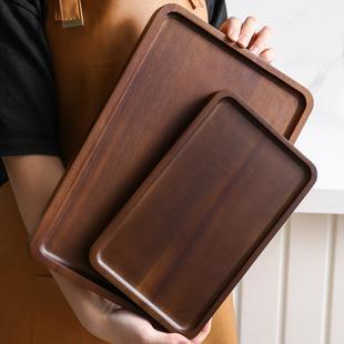 日式家用相思木实木长方形托盘木质杯架水杯茶杯盘收纳盘子餐盘托