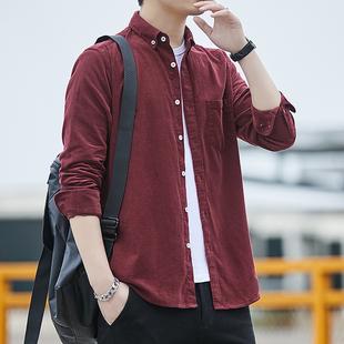 春季男士纯棉衬衣条纹宽松上衣休闲寸灯芯绒长袖衬衫潮流大码外套