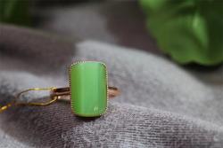 新疆和田碧玉猫眼镶嵌戒指女士时尚款式玉戒指指环男款扳指首饰