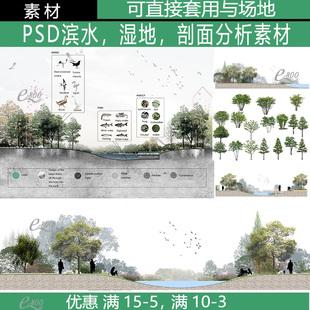 园林景观ps剖面图分析图PSD素材竞赛风前期分析湿地效果图