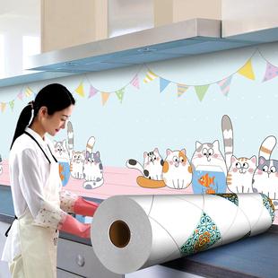 厨房防油贴纸防水墙贴壁纸耐高温自粘防潮吸油烟机橱柜灶台面专用