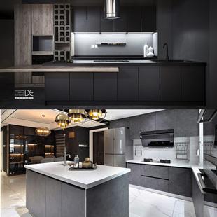 岩板台面定制整体橱柜厨房开放式工业风中式装修轻奢现代简约环保