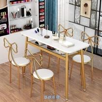 美甲桌椅套装北甲桌美容店装修风格化妆网红美发椅子美甲桌子套。