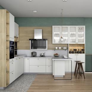 金牌厨柜抗菌厨房整体橱柜定制石英石台面家用装修定做开放式橱柜
