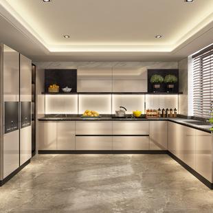 皮阿诺整体橱柜定制厨房装修石英石台面厨柜定做开放式现代经济型