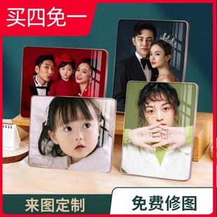水晶相框摆台照片定制洗照片做成摆件儿童情侣写真婚纱照放大挂墙