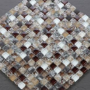 水晶玻璃马赛克 电镀金银色镜面 瓷砖 墙贴拼图背景墙卫生间装修