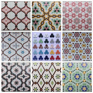 网红小六角砖六边形地毯拼图马赛克陶瓷砖卫生间厨房浴室店面装修