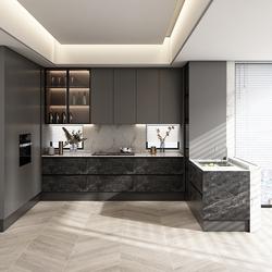 皮阿诺整体橱柜 定制厨房柜现代简约全屋装修石英石台面厨柜定做