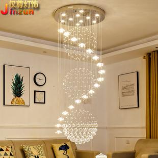 楼梯吊灯复式楼楼梯间长吊灯现代简约别墅楼中楼客厅水晶大吊灯