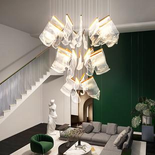 复式楼客厅吊灯北欧轻奢别墅楼中楼酒店大厅后现代楼梯艺术长吊灯