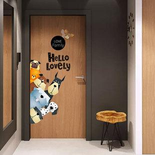 卧室墙贴纸装饰创意个性儿童门贴纸房间可爱布置小图案墙纸自粘