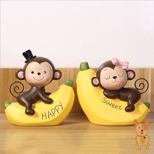 创意卡通可爱猴子摆件ins超火网红小摆件办公桌酒柜电视柜装饰品