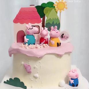 软陶小猪一家蛋糕装饰摆件热气球小树房子蛋糕装扮插牌生日插件
