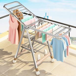 不锈钢晾衣架落地折叠卧室内阳台凉衣架家用婴儿晾衣架晒被子神器